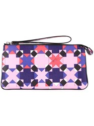 Emilio Pucci Large Wristlet Clutch Pink And Purple