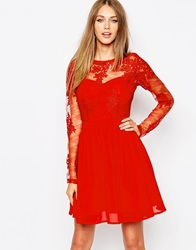Missguided Premium Lace Long Sleeve Skater Dress Red