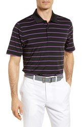 Cutter And Buck Stripe Drytec Polo Black Magnetic