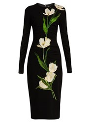 Dolce And Gabbana Tulip Applique Wool Blend Dress Black Multi