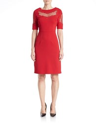 Nue By Shani Mesh Yoke Sheath Dress Red