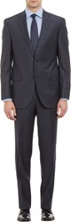 Barneys New York Twill Two Button Suit Blue