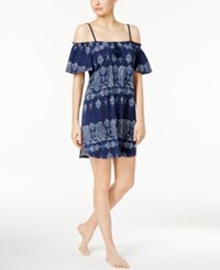 Lucky Brand Off The Shoulder Printed Knit Nightgown Navy Paisley