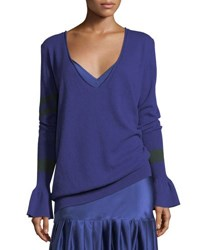 Maggie Marilyn Hold On To Your Own Boyfriend V Neck Wool Sweater Blue