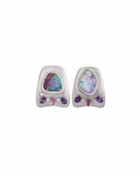 Margot Mckinney Jewelry Opal And Diamond Huggie Earrings In 18K White Gold