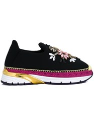 Dolce And Gabbana Embellished Slip On Sneakers Black