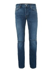 Topman Dark Wash Blue Ripped Stretch Slim Jeans
