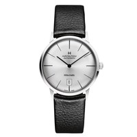 Hamilton H38455751 Men's Intra Matic Date Leather Strap Watch Black Silver