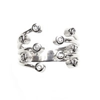 Msj By Mira S Designs Silver Diamond Studded Claw Ring