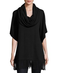 Catherine Malandrino Fringed Cowl Neck Top Black