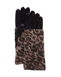Neiman Marcus Long Cashmere Animal Print Gloves Black Brow