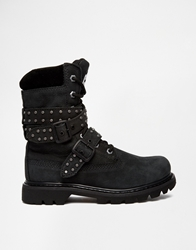 Caterpillar Double Agent Chunky Strap Lace Up Boots Black