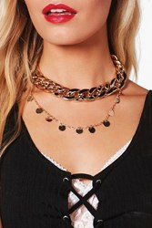 Boohoo Chunky Chain Layered Choker Set Gold