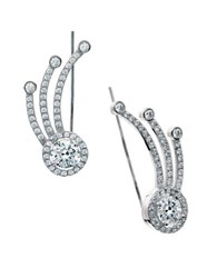Crislu Jubilance Cz Platinum Finished Sterling Silver Round Pave Ear Climber