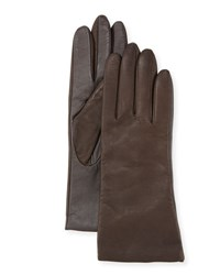 Neiman Marcus Cashmere Lined Leather Tech Gloves Brown