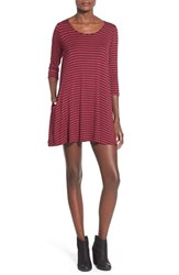 Junior Women's Socialite T Shirt Dress Burgundy Black