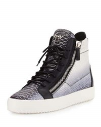 Giuseppe Zanotti Men's Metallic Snake Print High Top Sneaker Gray