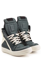 Rick Owens Textured Leather High Top Sneakers Multicolor