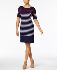 Karen Scott Cotton Striped Dress Only At Macy's Intrepid Blue