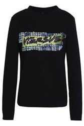 Versus By Versace Sequin Embellished French Cotton Terry Sweatshirt Black