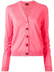 Paul Smith Ps By V Neck Buttoned Cardigan Pink Purple