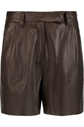 Brunello Cucinelli Leather Shorts Brown