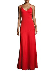 Moschino Solid V Neck Gown Red