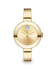 Movado Bold Crystal And Goldtone Ip Stainless Steel Bangle Bracelet Watch 34Mm
