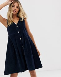 Pieces V Neck Button Front Cord Pinny Dress Navy