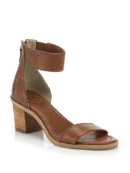 Frye Brielle Leather Ankle Zip Sandals Whiskey White Charcoal