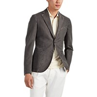 Barneys New York Cotton Linen Two Button Sportcoat Charcoal