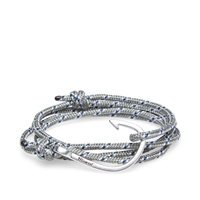 Miansai Silver Tone Hook Rope Bracelet Grey And Blue