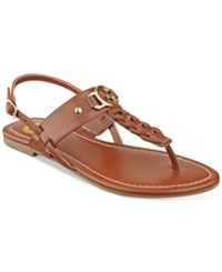G By Guess Lorrie T Strap Flat Sandals Women's Shoes Rio Maple