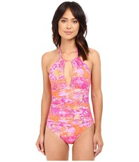 Lauren Ralph Lauren Oceania Floral High Neck One Piece Slimming Fit W Removable Cup Pink Multi Women's Swimsuits One Piece