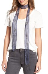 Hinge Women's Beaded Skinny Scarf Blue Combo