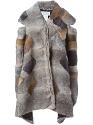 Maison Martin Margiela Maison Margiela Patchwork Fur Asymmetric Jacket Nude And Neutrals
