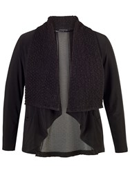 Chesca Cloque Trim Jersey Shrug Black