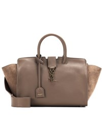 Saint Laurent Monogram Downtown Small Leather Tote Brown