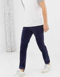United Colors Of Benetton Slim Fit Cord Trousers With Stretch In Navy
