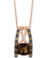 Le Vian Chocolatier Chocolate Quartz 2 Ct. T.W. And Diamond 3 8 Ct. T.W. Pendant Necklace In 14K Rose Gold Brown