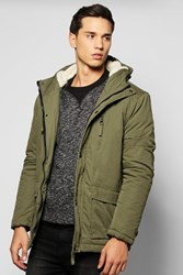 Boohoo Lined Double Pocket Parka Khaki
