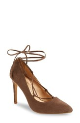 Athena Alexander Women's Raja Lace Up Pump Taupe Faux Suede