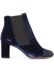 Tabitha Simmons 'Micki' Boots Women Leather Suede Velvet 38 Blue