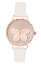 Olivia Burton 3D Butterfly Leather Strap Watch 30Mm Blush Rose Gold