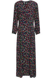 Anna Sui Woman Pintucked Bow Detailed Floral Print Crepe Maxi Dress Black