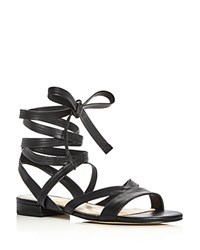 Ivanka Trump Crisa Leather Lace Up Ankle Tie Sandals Black