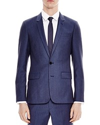 Sandro Notch Flannel Light Slim Fit Sport Coat Blue