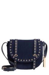 Vince Camuto Areli Suede And Leather Crossbody Saddle Bag Blue Winter Navy