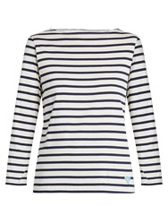 Orcival Breton Striped Cotton And Silk Blend Top Navy White