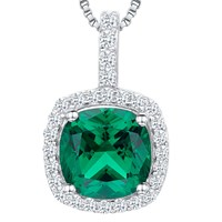 Jools By Jenny Brown Cubic Zirconia Curved Square Necklace Silver Green